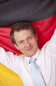 Fanatic man with german flag — 图库照片