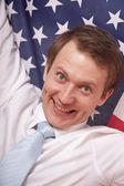 美国国旗的狂热男人 — 图库照片