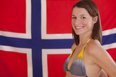 Woman over norwegian flag — Stock Photo