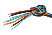 Colorful shoelaces knot — Stock Photo