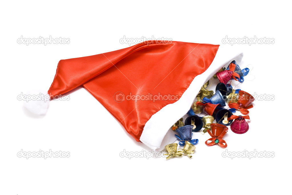 Santa Claus cap with christmas bells on white — Stock Photo #1533934