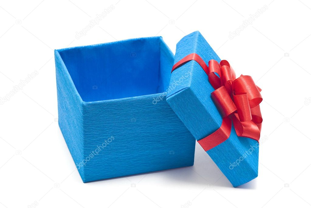 Open blue gift box with red bow — Stock Photo #1557789