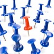One red thumbtack amid blue thumbtacks — Stock Photo