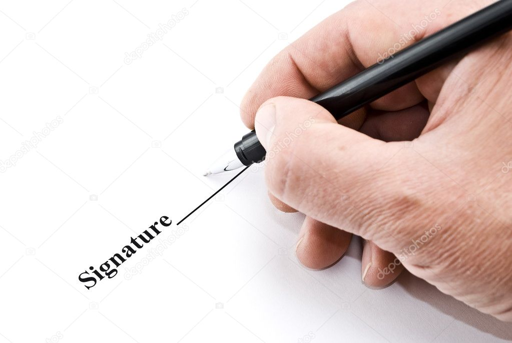 Hand with pen makes signature on white — Stock Photo #1606300