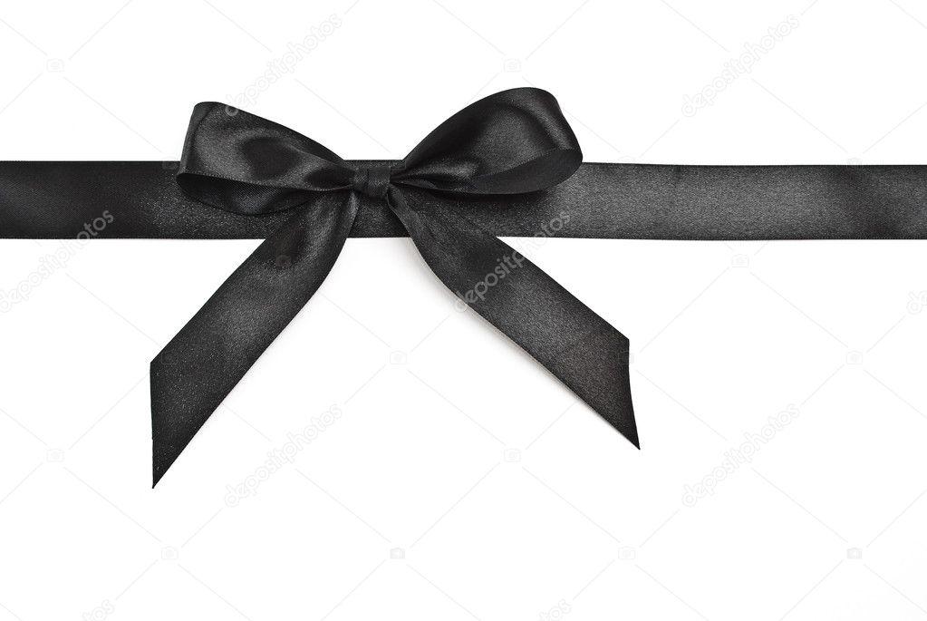 Black Ribbon Bow Black ribbon bow on white