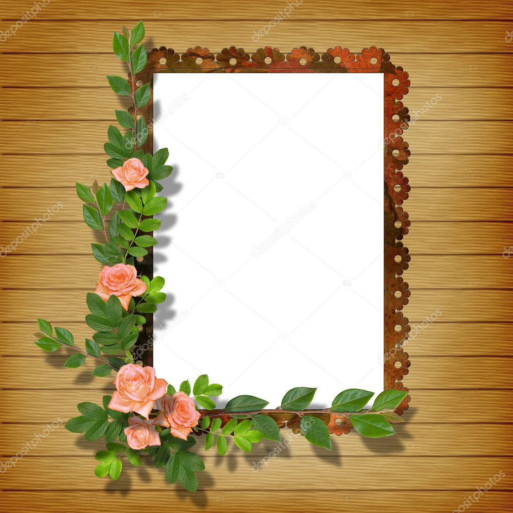 Framework for photo on the abstract background with flowers.  Stock Photo #1175649