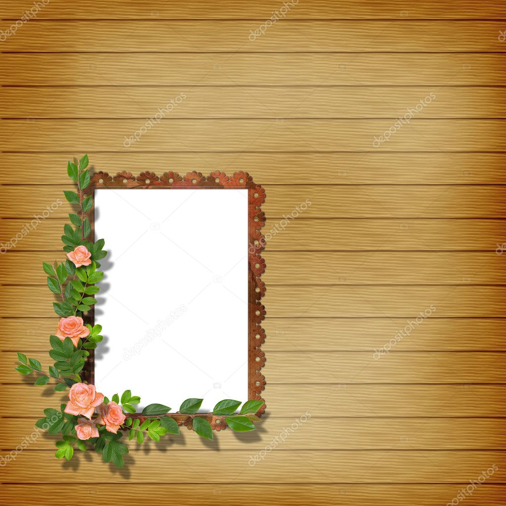 Framework for photo on the abstract background with flowers. — Stock Photo #1175653