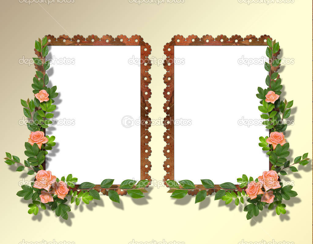Two frameworks for photo on the abstract background with flowers. — Stock Photo #1175675