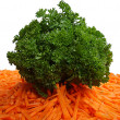 Bunch of parsley and cut carrot — Stock Photo