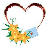 Corazón rojo con flores naranjas — Foto de Stock