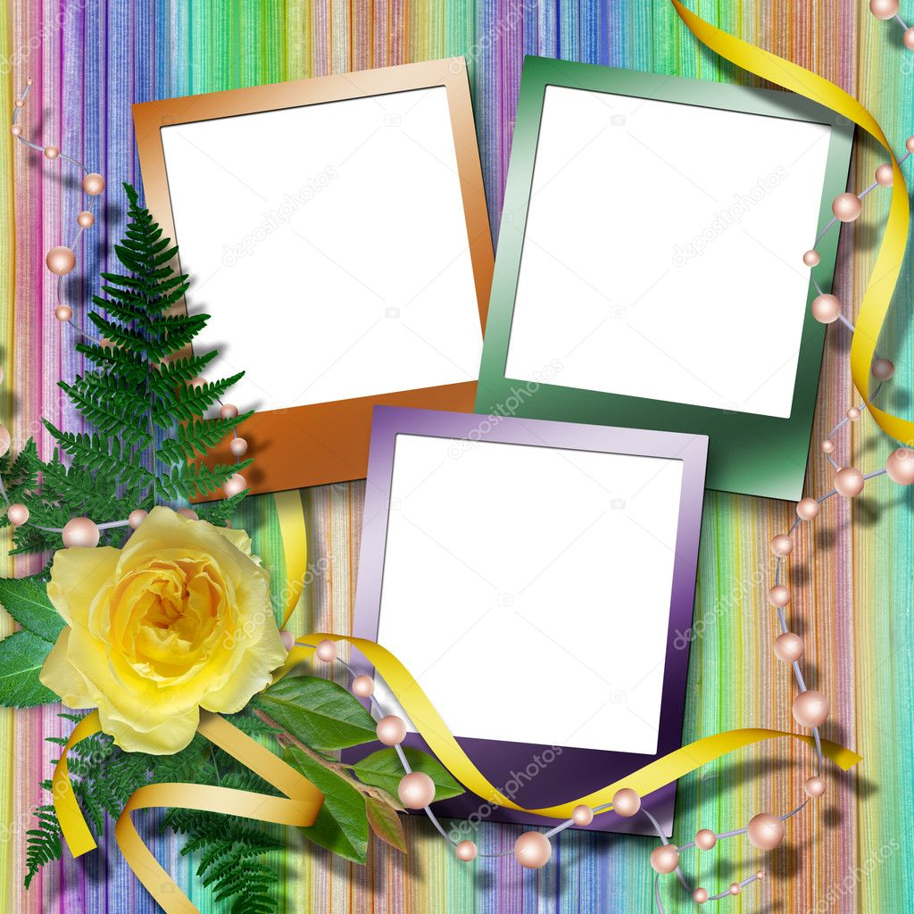Elegant framework for photos on the abstract background with bunch of flowers. — Stock Photo #1263432