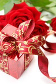 Box and rose — Stock Photo