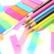 Sticky sheets and pencils — Stock Photo