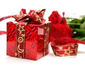 Caixa e rose — Fotografia Stock