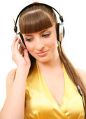 The girl in headphones — Stock Photo