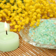 Sea salt and candles — Stock Photo
