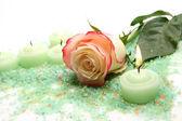 Rose e velas — Fotografia Stock