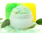 Soap and sea salt — Stock Photo