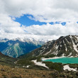 Mountain ice lake panorama - Stock Photo