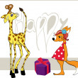 Giraffe with a gift and a fox — Imagen vectorial