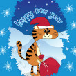 Tiger - Santa Claus whit gifts — Stock Vector