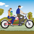 Married couple with baby on a bicycle — Imagen vectorial