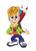 Boy with backpack and pencils — Stockvector