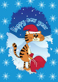 Tiger - Santa Claus whit gifts — Stockvektor