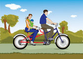 Married couple with baby on a bicycle — Stockvector