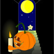 Pumpkin and moon - Stock Vector