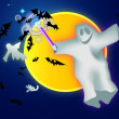 Ghost, bats and the moon — Stockvectorbeeld