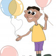 The boy with balloons — Stock Vector