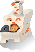 The furnace with pies — Vector de stock
