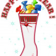 Christmas boot with sweets 1 - Stock Photo