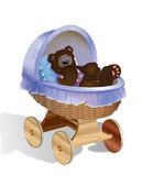 Bear cub in carriage — Stock Photo