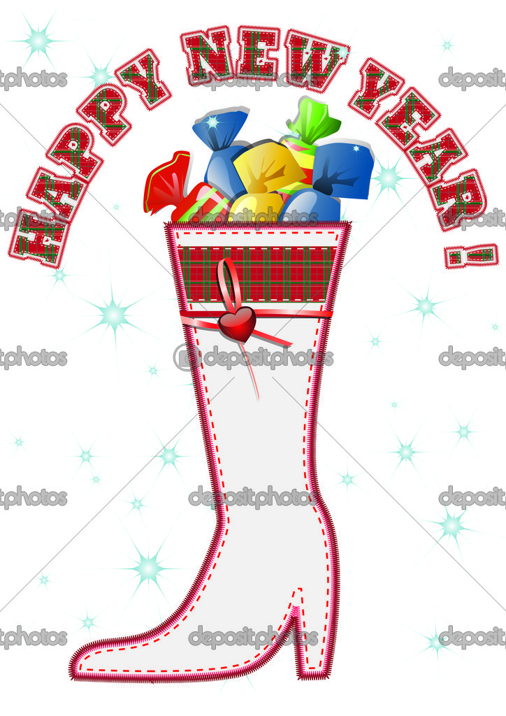 Christmas boot with sweets on white background — Stock Photo #1203257