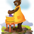 She-bear washing linen - Stock Photo