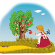 The girl and an apple-tree — Foto de Stock