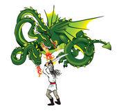 Dragon och män — Stockfoto