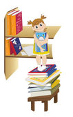 The little girl with book and book shelf — 图库照片