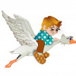 Stock Photo: Boy flies on goose