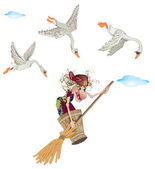 The witch flies and geese — Stock Photo