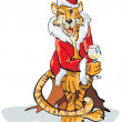 Christmas tiger — Stock Vector