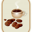 Stock Vector: Cup of coffee and coffee grains
