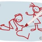 Children, heart and a red felt-tip pen — Stock Vector