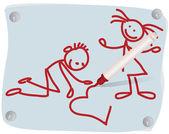 Los niños, corazón y un rotulador rojo — Vector de stock