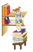 Girl and a book shelf — Stock Vector