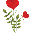Two stylised red roses - Stock Vector