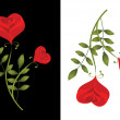 Two stylised red roses. Card — ストックベクタ