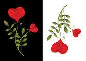 Two stylised red roses. Card — Cтоковый вектор